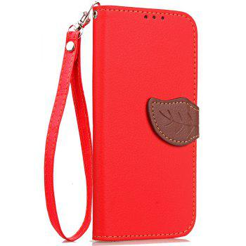 Leaf Luxury Leather Wallet Stand Flip Cover Case for iPhone X - RED