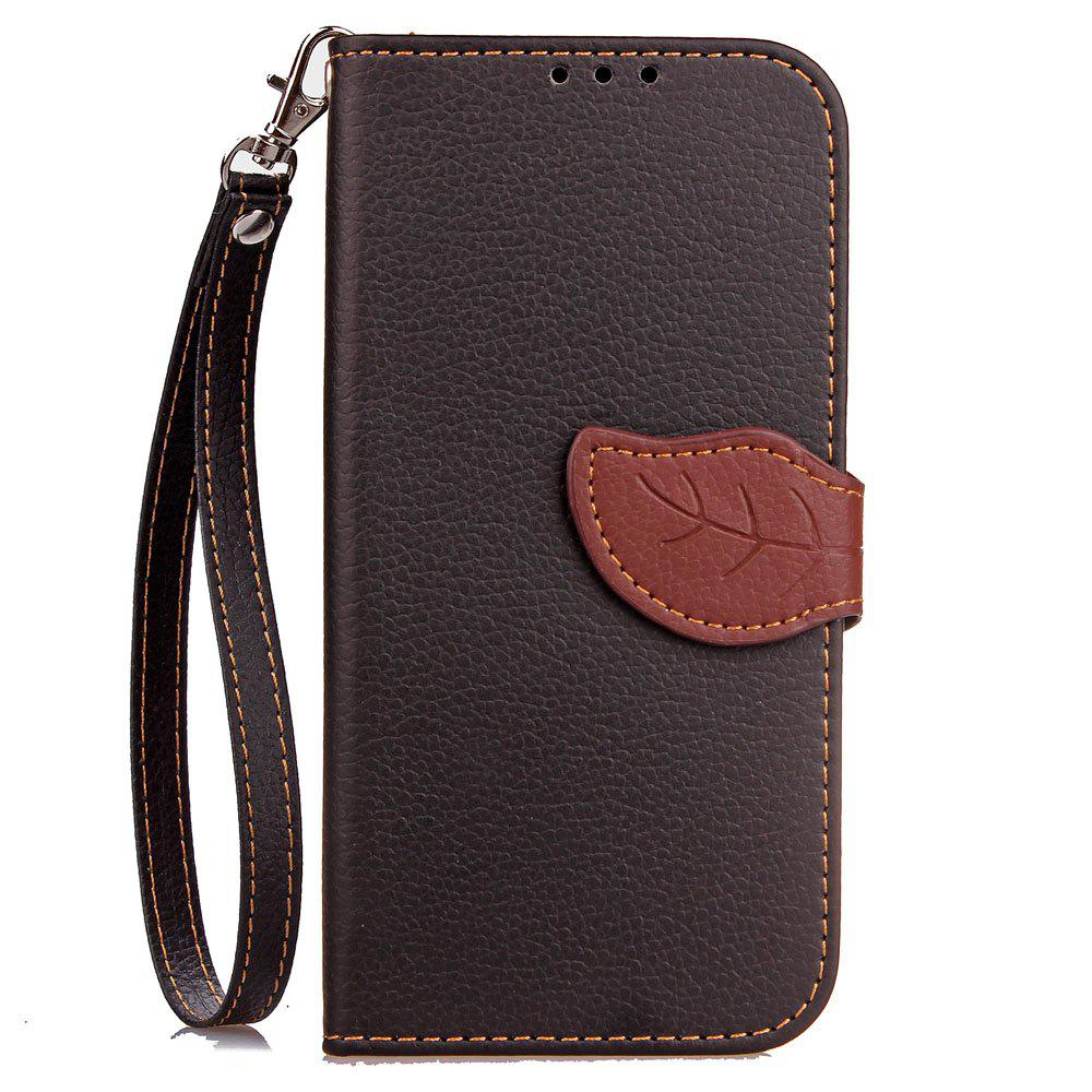 Leaf Luxury Leather Wallet Stand Flip Cover Case for iPhone X - BLACK