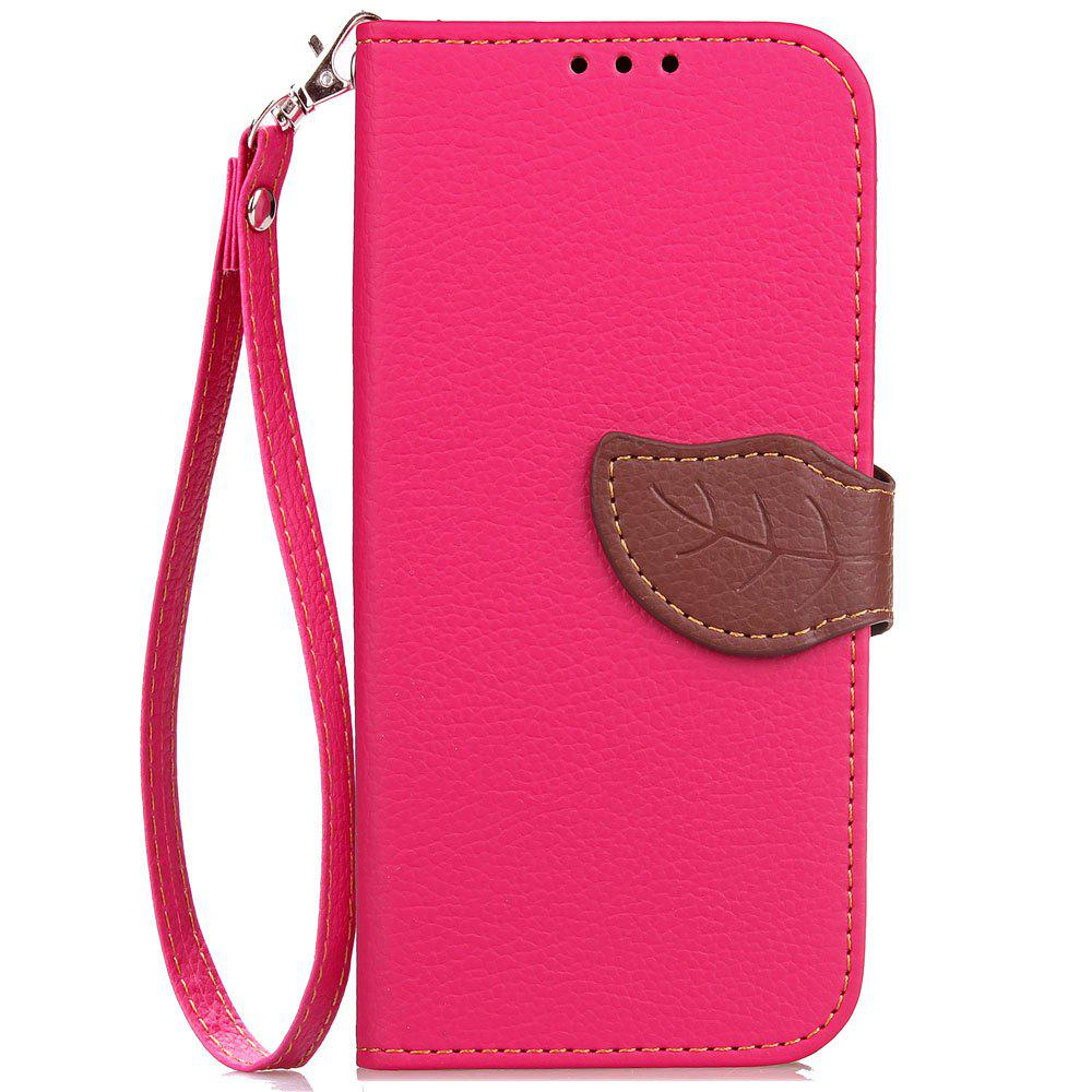 Leaf Luxury Leather Wallet Stand Flip Cover Case for iPhone X - ROSE RED