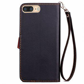 Leaf Luxury Leather Wallet Stand Flip Cover Case for iPhone 7 Plus / 8 Plus - BLACK