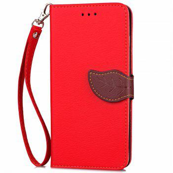 Leaf Luxury Leather Wallet Stand Flip Cover Case for iPhone 7 Plus / 8 Plus - RED