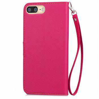 Leaf Luxury Leather Wallet Stand Flip Cover Case for iPhone 7 Plus / 8 Plus - ROSE RED