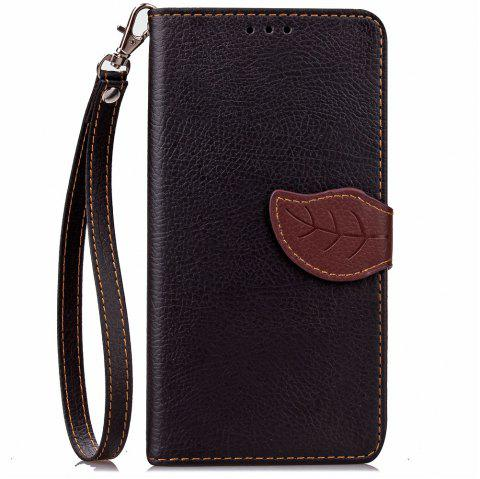 Leaf Luxury Leather Wallet Stand Flip Cover Case for iPhone 7 / 8 - BLACK