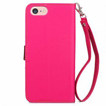 Leaf Luxury Leather Wallet Stand Flip Cover Case for iPhone 7 / 8 - ROSE RED