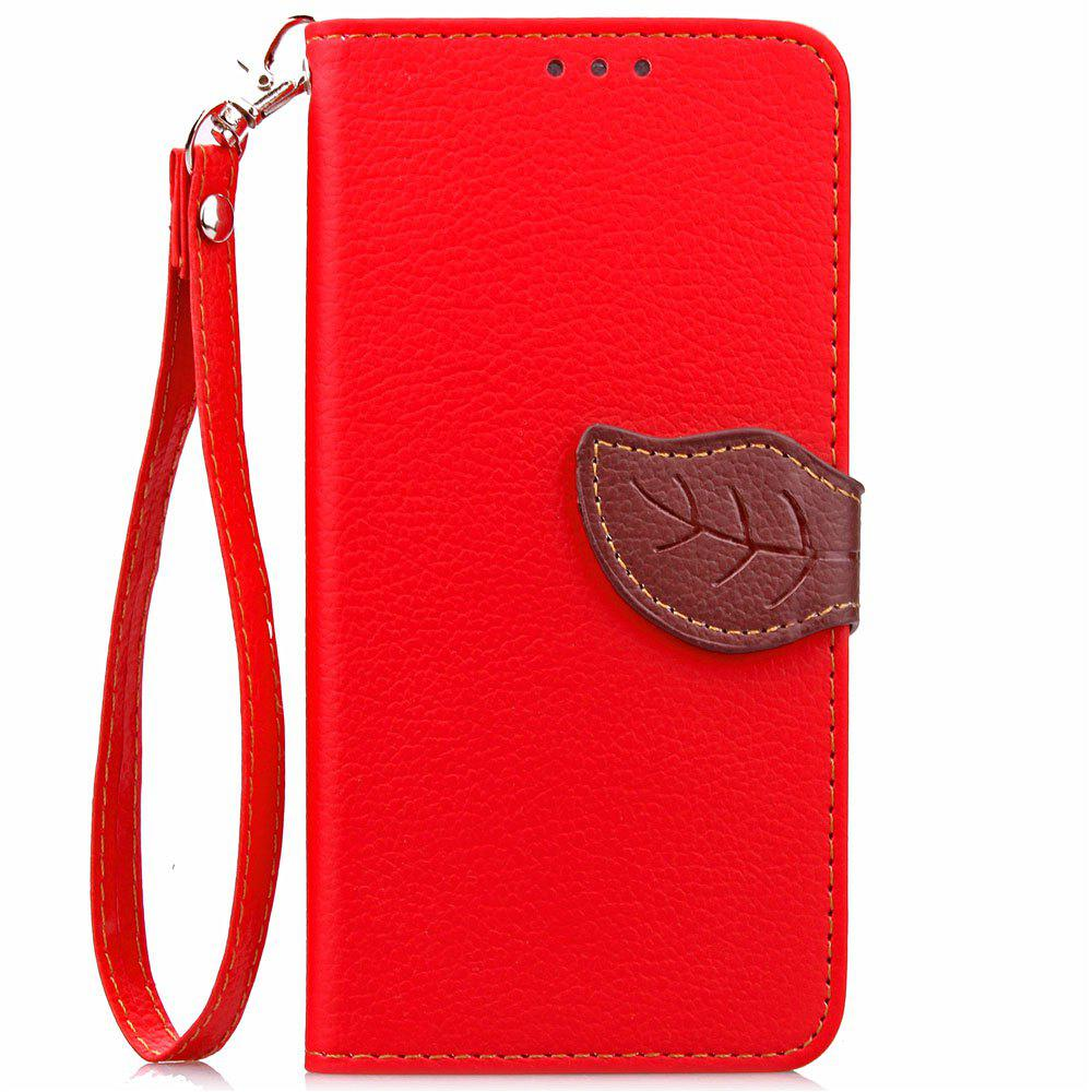Leaf Luxury Leather Wallet Stand Flip Cover Case for iPhone 7 / 8 - RED