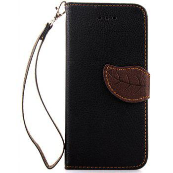 Leaf Luxury Leather Wallet Stand Flip Cover Case for iPhone 6 Plus / 6s Plus - BLACK
