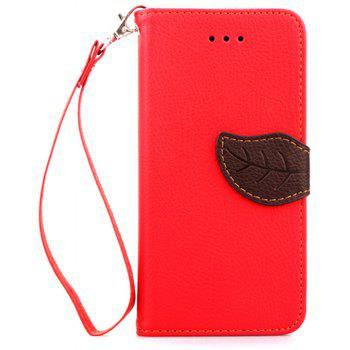 Leaf Luxury Leather Wallet Stand Flip Cover Case for iPhone 6 Plus / 6s Plus - RED