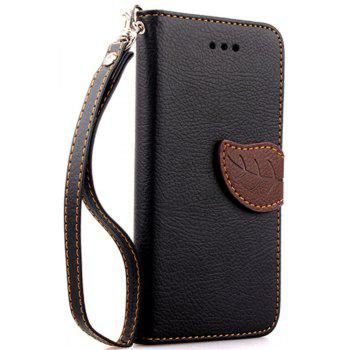 Leaf Luxury Leather Wallet Stand Flip Cover Case for iPhone 6 / 6s - BLACK