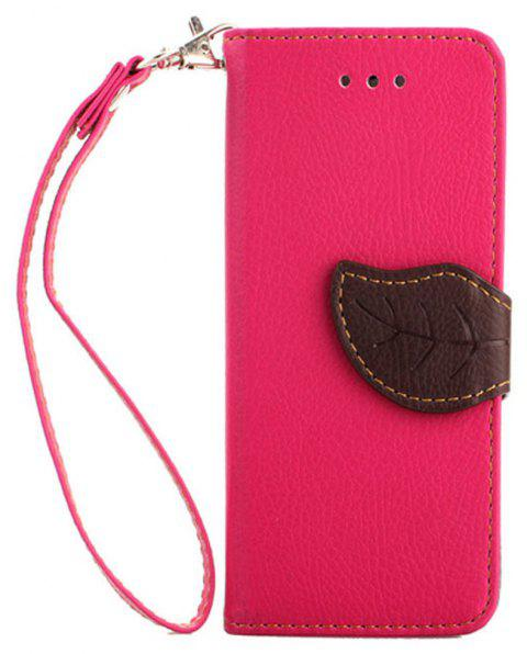 Leaf Luxury Leather Wallet Stand Flip Cover Case for iPhone 5 / 5S / SE - ROSE RED