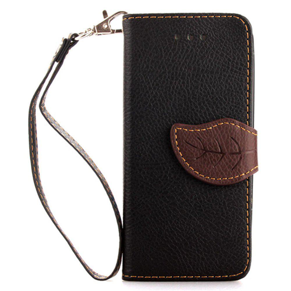 Leaf Luxury Leather Wallet Stand Flip Cover Case for iPhone 5 / 5S / SE - BLACK