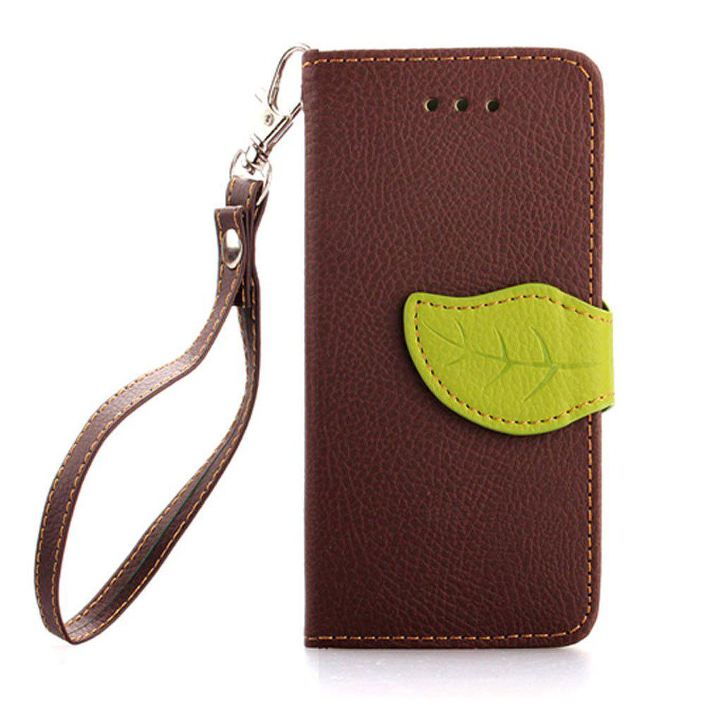 Leaf Luxury Leather Wallet Stand Flip Cover Case for iPhone 5 / 5S / SE - BROWN