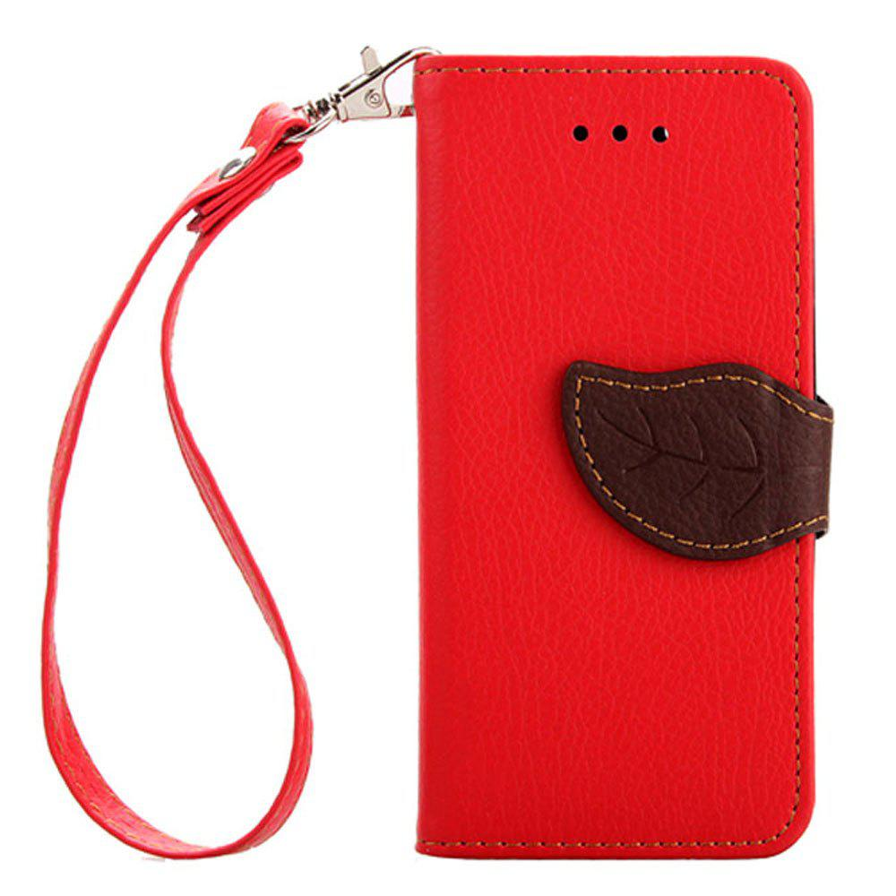 Leaf Luxury Leather Wallet Stand Flip Cover Case for iPhone 5 / 5S / SE - RED