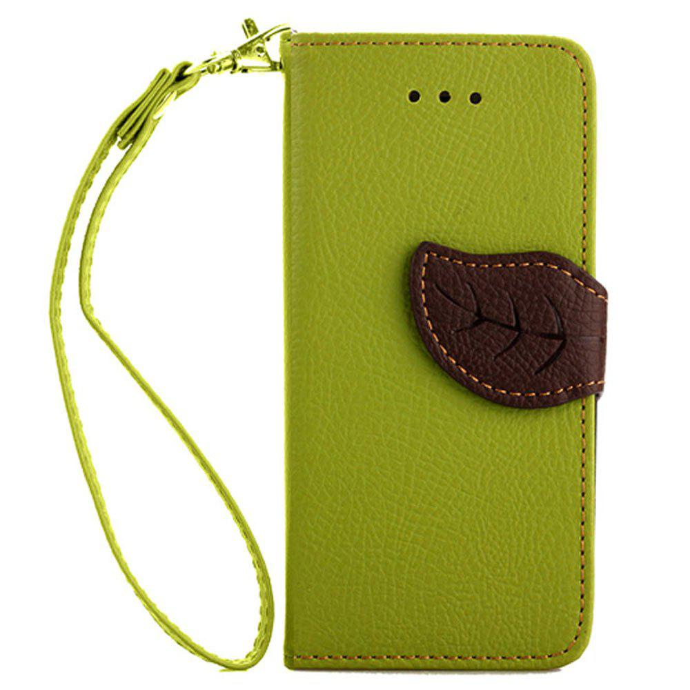 Leaf Luxury Leather Wallet Stand Flip Cover Case for iPhone 5 / 5S / SE - GREEN