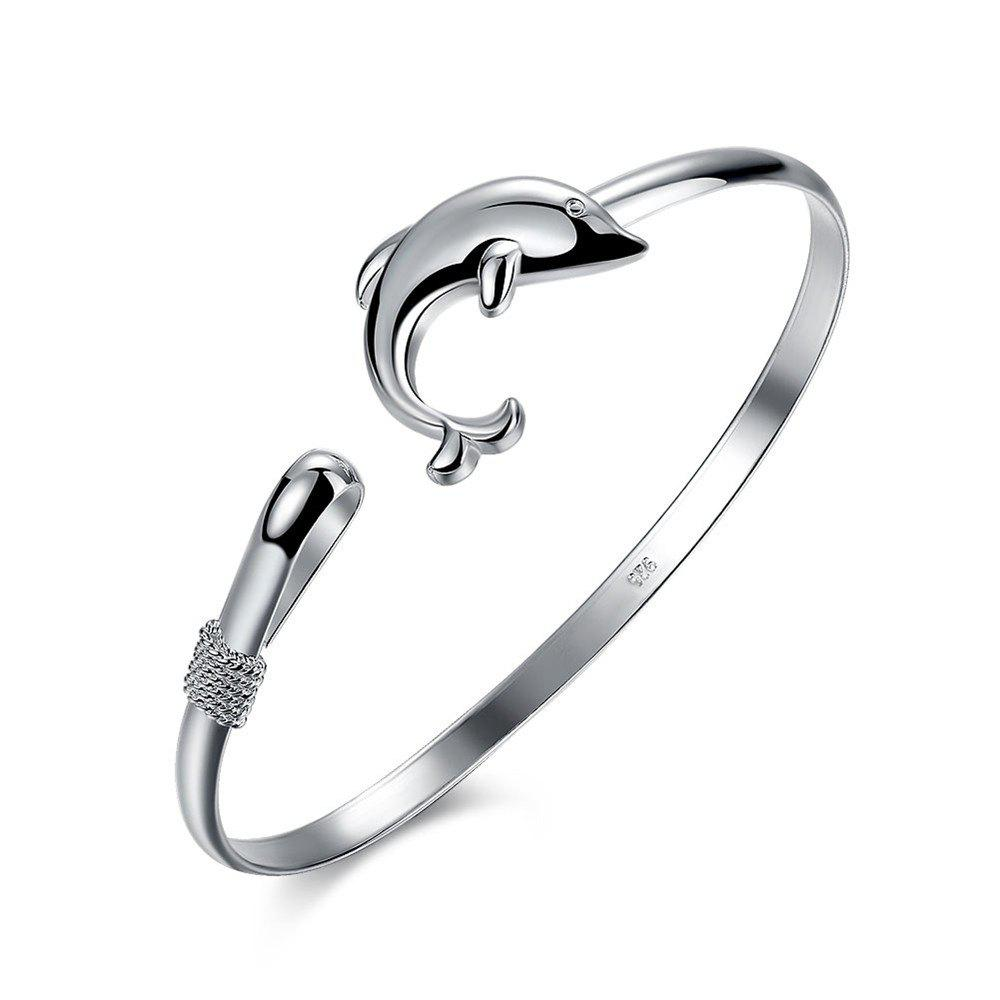 Fashion Design Dolphin Shape Alloy Bangle Charm Jewelry - SILVER