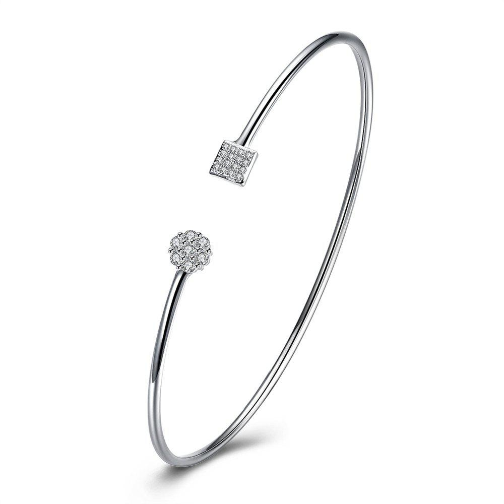 Alloy Zircon Bangle Opening Bracelet Charm Jewelry - SILVER