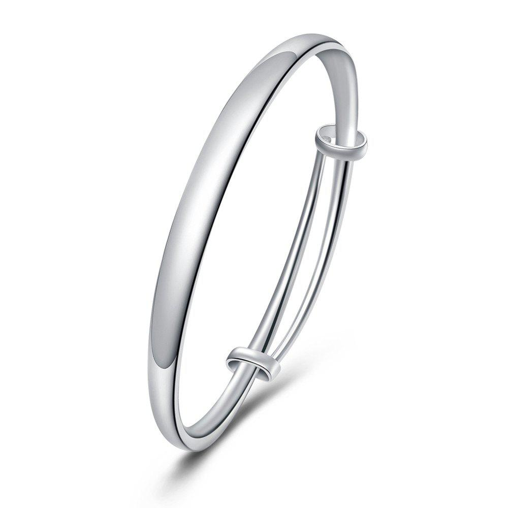 Fashion Circle Smooth Alloy Bangle Adjustable Bracelet Charm Jewelry - SILVER