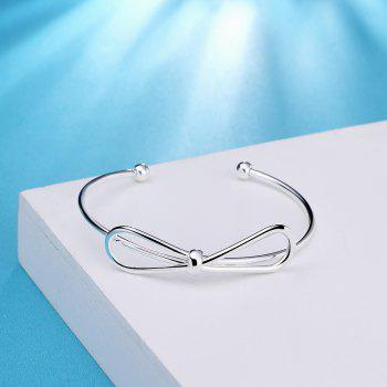 Fashion Creative Bowknot Alloy Bangle Opening Bracelet Charm Jewelry - SILVER