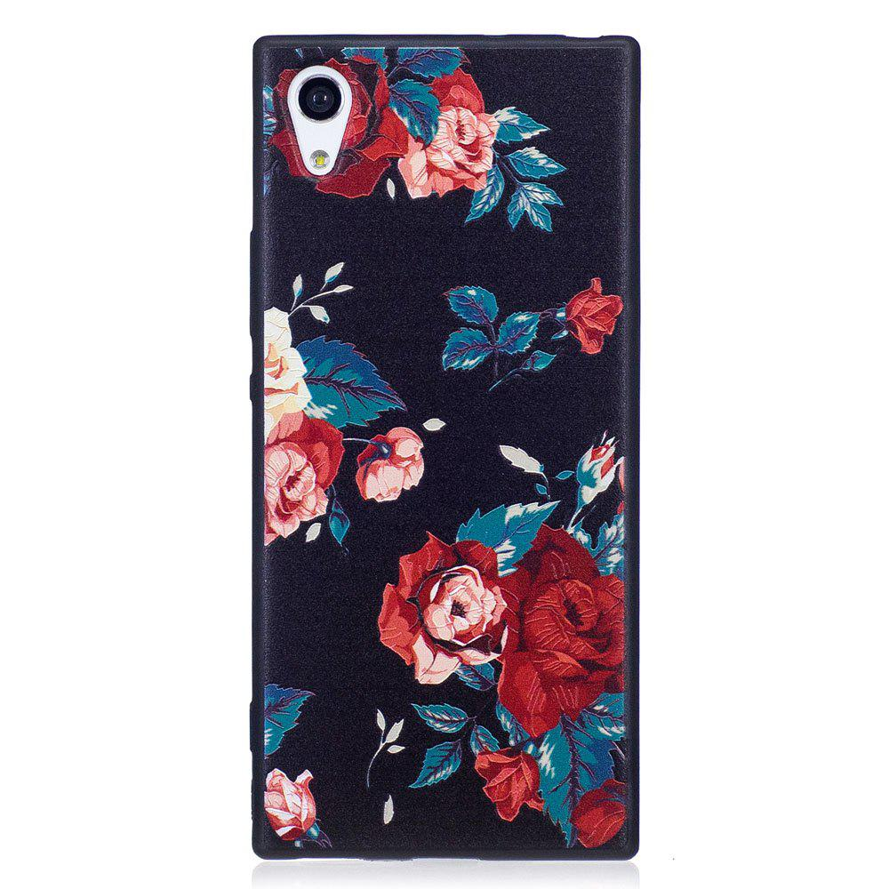 Relief Silicone Case for Sony Xperia XA1 Red Flowers Pattern Soft TPU Protective Back Cover - RED