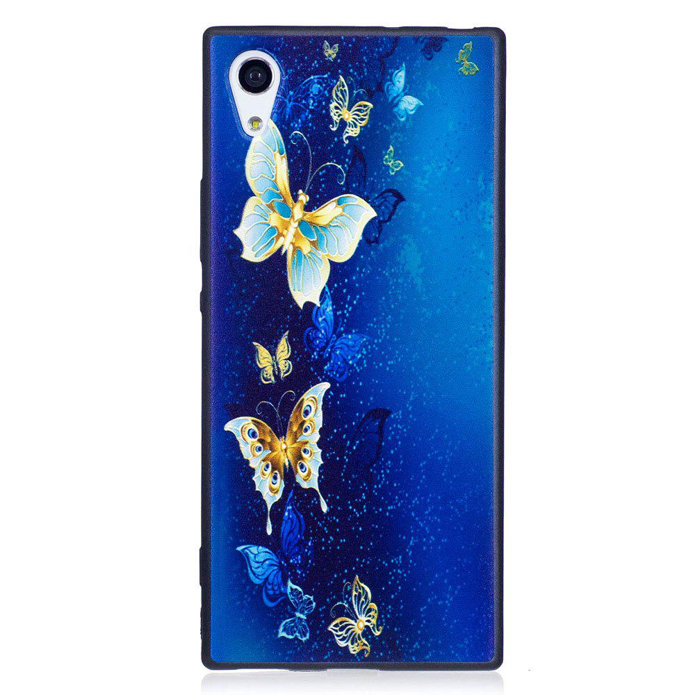 Relief Silicone Case for Sony Xperia XA1 Golden Butterfly Pattern Soft TPU Protective Back Cover - BLUE