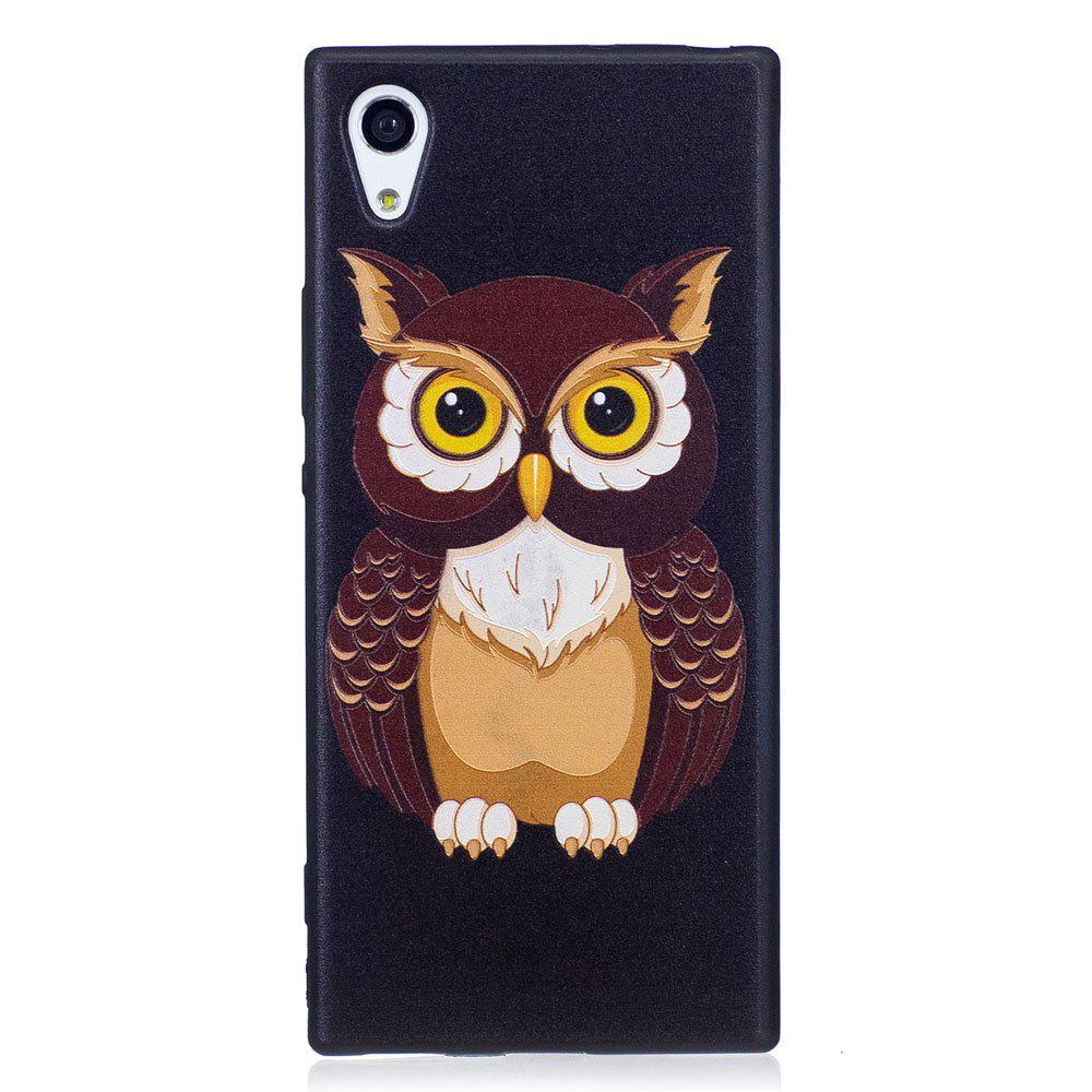Relief Silicone Case for Sony Xperia XA1 Owl Pattern Soft TPU Protective Back Cover - BROWN