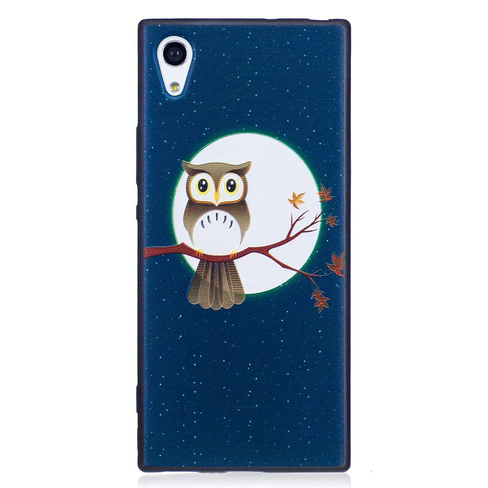 Relief Silicone Case for Sony Xperia XA1 Moon and Owl Pattern Soft TPU Protective Back Cover - BLUE