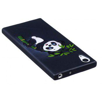 Relief Silicone Case for Sony Xperia XA1 Bamboo Panda Pattern Soft TPU Protective Back Cover - BLACK
