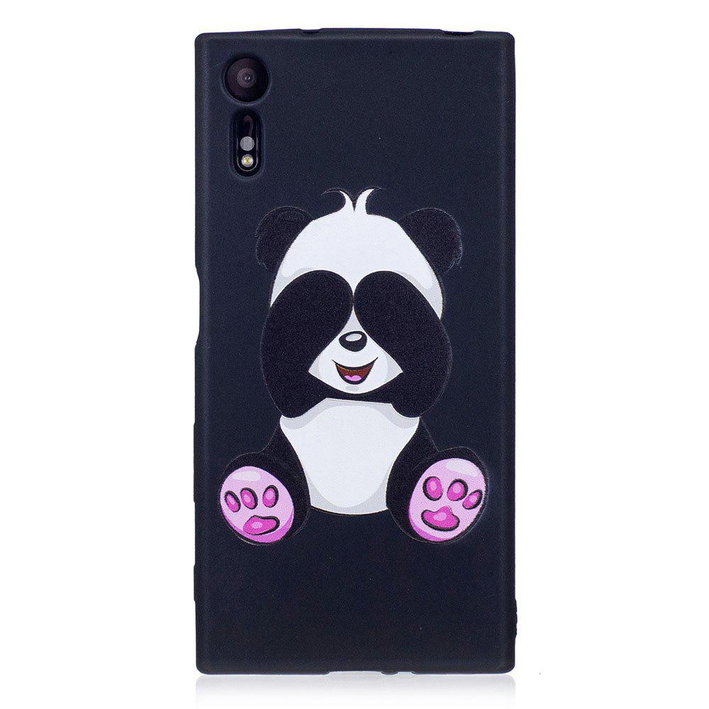 Relief Silicone Case for Sony Xperia XZ / XZS Panda Pattern Soft TPU Protective Back Cover - BLACK