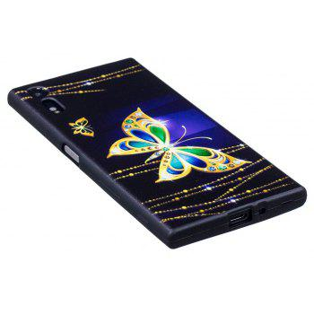 Relief Silicone Case for Sony Xperia XZ / XZS Large Butterfly Pattern Soft TPU Protective Back Cover - PURPLE