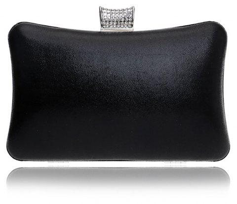 Women Leatherette Evening Bag Buttons Crystal Detailing Wedding Event Party - BLACK