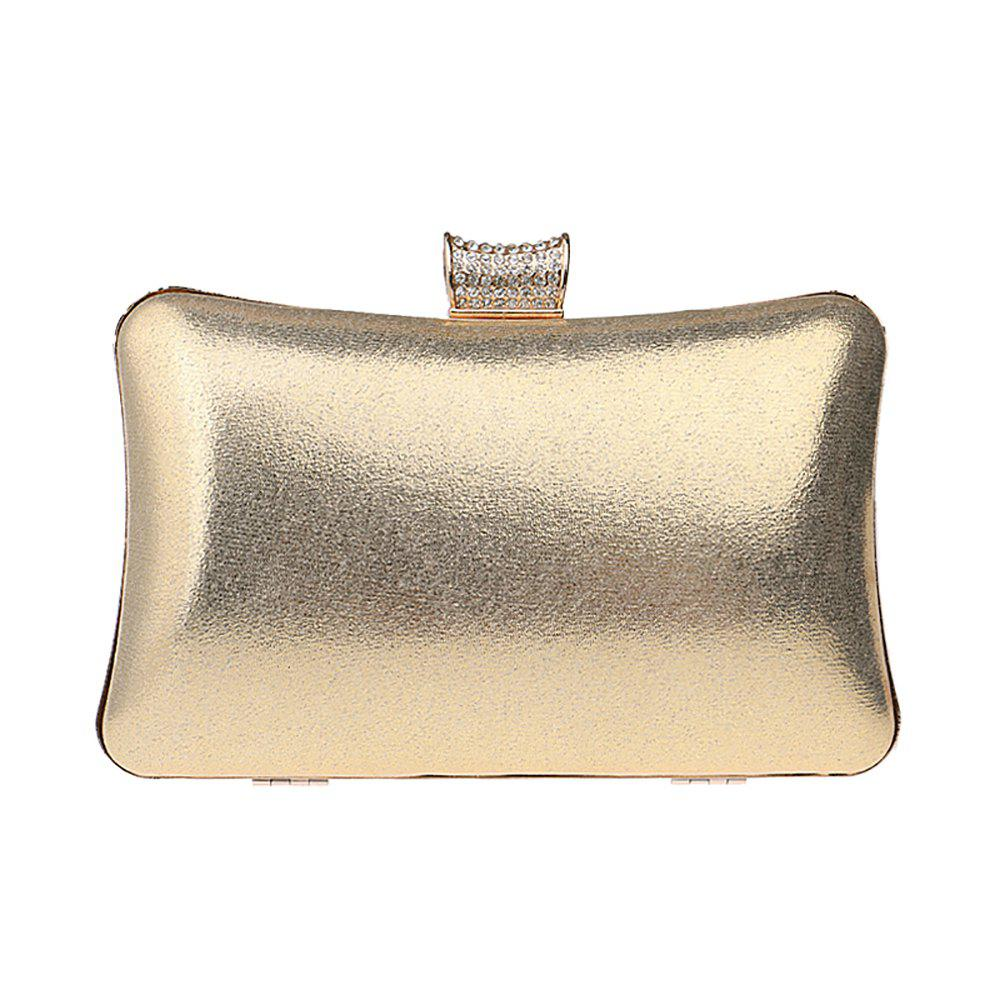 Women Leatherette Evening Bag Buttons Crystal Detailing Wedding Event Party - GOLDEN
