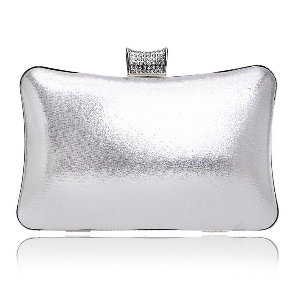 Women Leatherette Evening Bag Buttons Crystal Detailing Wedding Event Party - SILVER