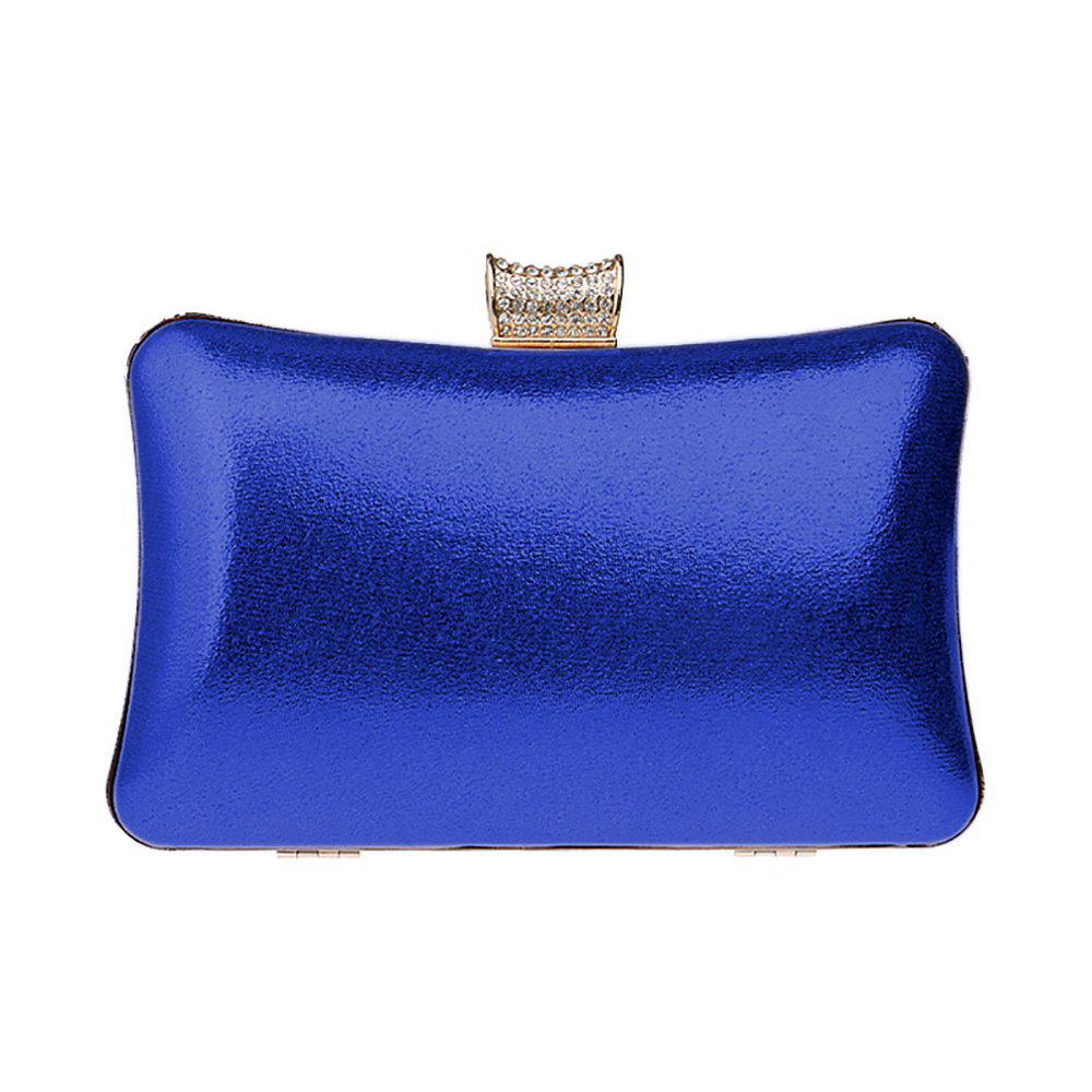 Women Leatherette Evening Bag Buttons Crystal Detailing Wedding Event Party - BLUE