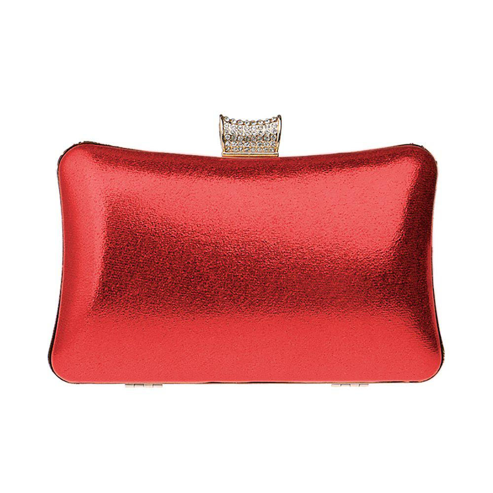 Women Leatherette Evening Bag Buttons Crystal Detailing Wedding Event Party - RED