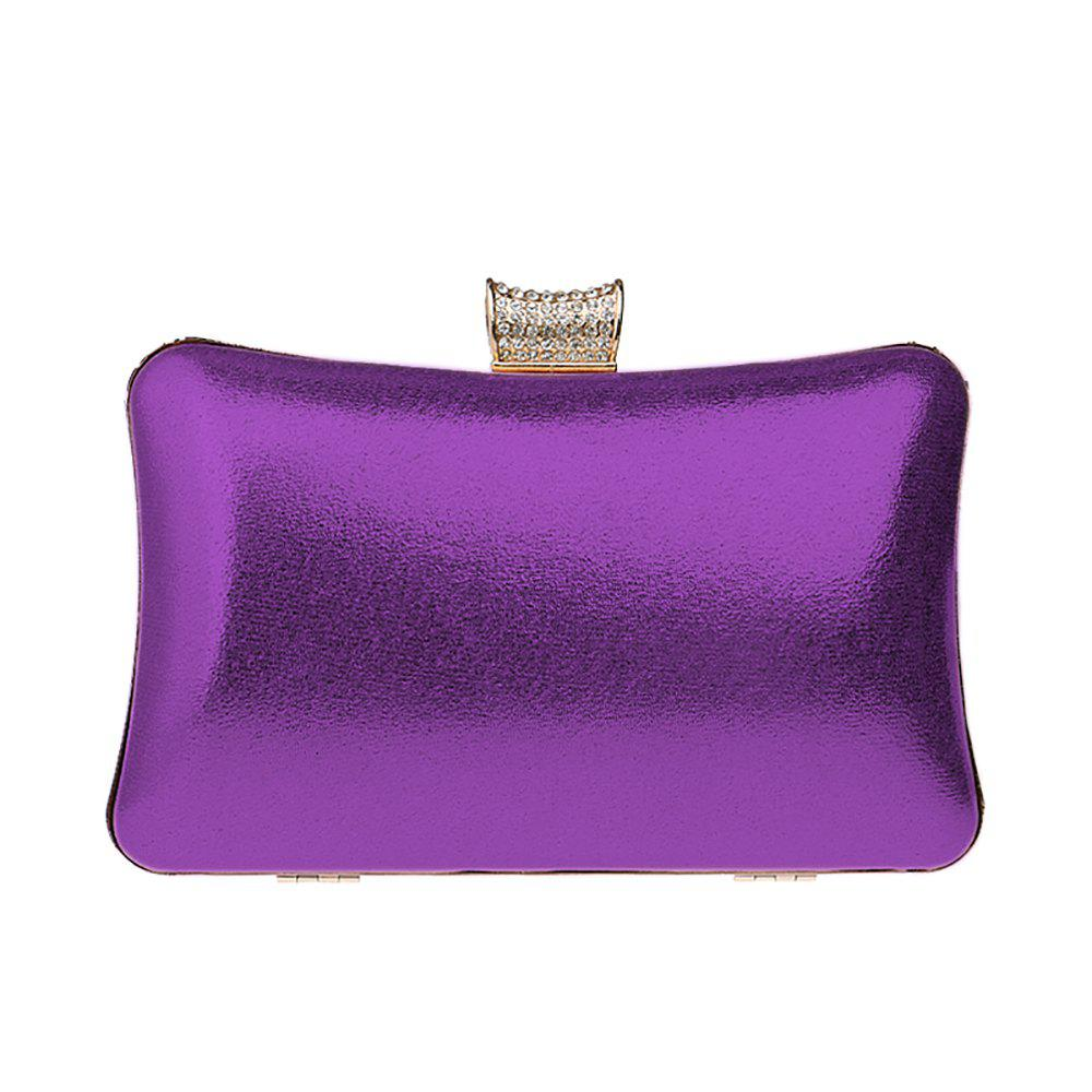 Women Leatherette Evening Bag Buttons Crystal Detailing Wedding Event Party - PURPLE