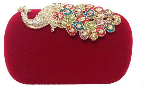 Women Bags   Evening Bag Buttons Crystal Detailing Wedding Event Party Formal - RED