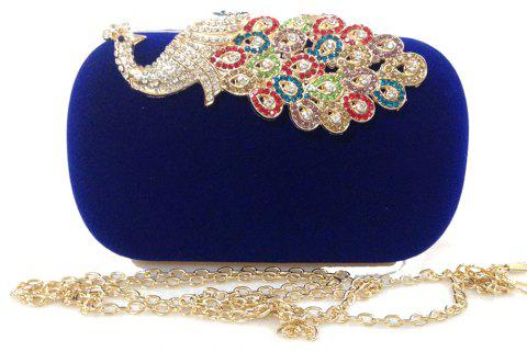 Women Bags   Evening Bag Buttons Crystal Detailing Wedding Event Party Formal - BLUE