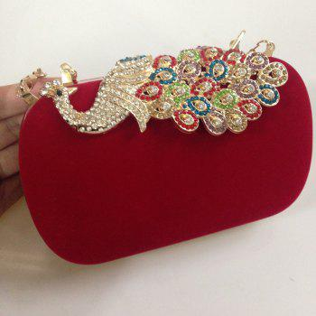 Women Bags Velvet Evening Bag Buttons Crystal Detailing Wedding Event Party Formal - RED
