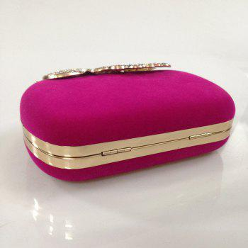 Women Bags Velvet Evening Bag Buttons Crystal Detailing Wedding Event Party Formal - FUCHSIA