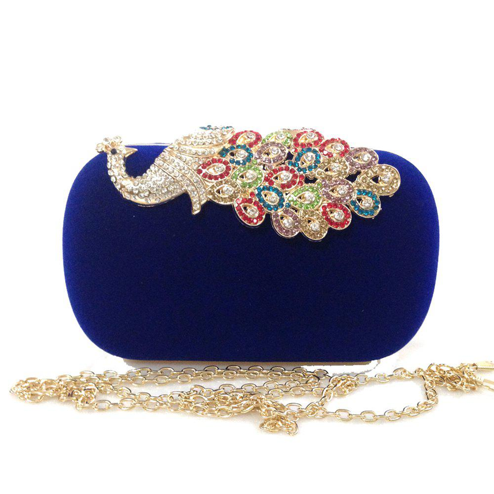 Women Bags Velvet Evening Bag Buttons Crystal Detailing Wedding Event Party Formal - BLUE