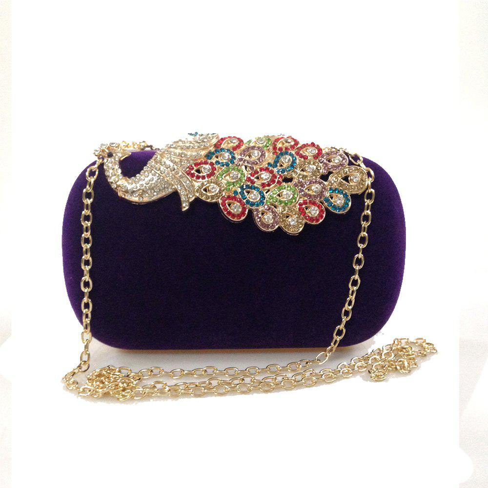 Women Bags Velvet Evening Bag Buttons Crystal Detailing Wedding Event Party Formal - PURPLE