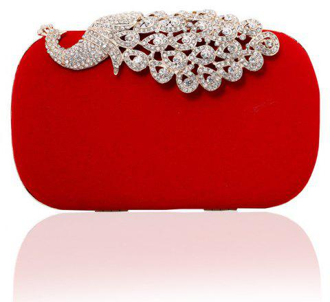 Women Clutch Bags  Evening Bag Buttons Crystal Detailing Wedding Event Party Formal - RED
