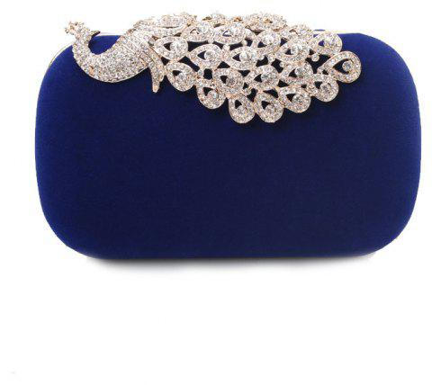 Women Clutch Bags  Evening Bag Buttons Crystal Detailing Wedding Event Party Formal - BLUE