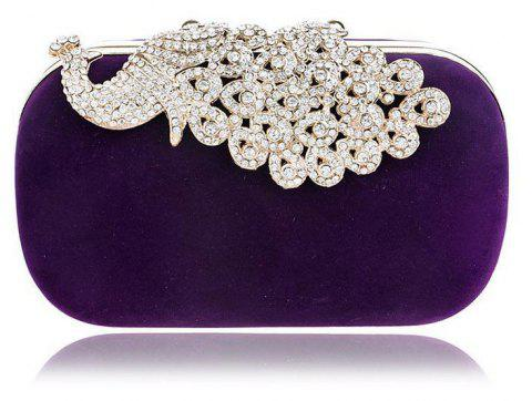 Women Clutch Bags  Evening Bag Buttons Crystal Detailing Wedding Event Party Formal - PURPLE