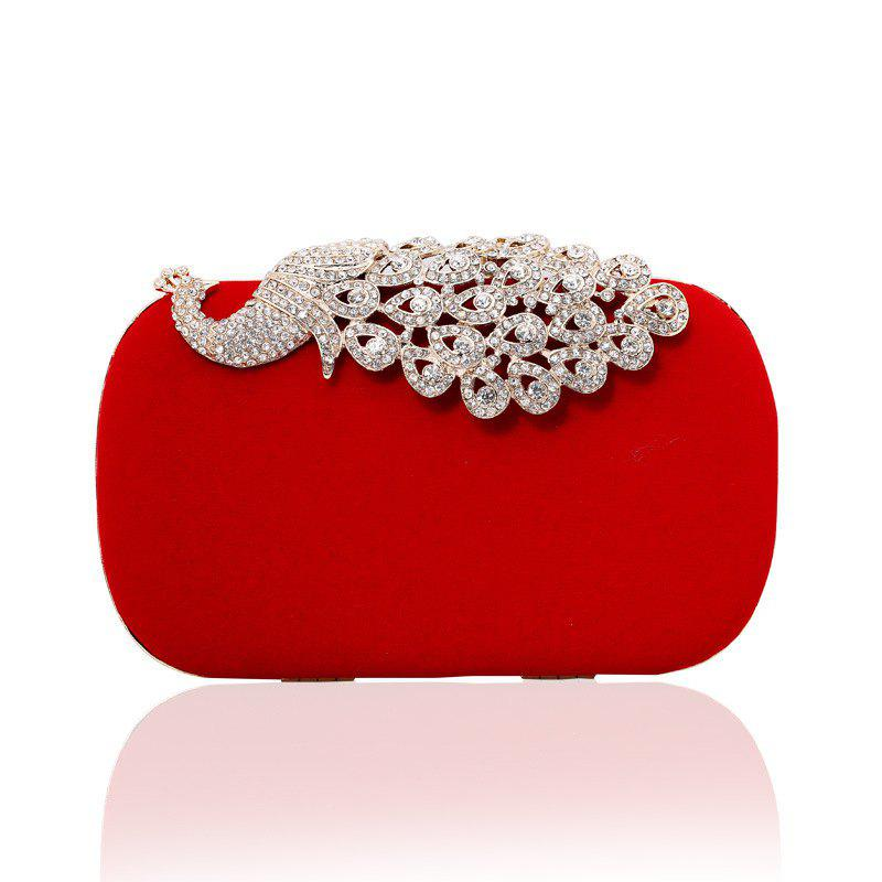 Women Clutch Bags Velvet Evening Bag Buttons Crystal Detailing Wedding Event Party Formal - RED