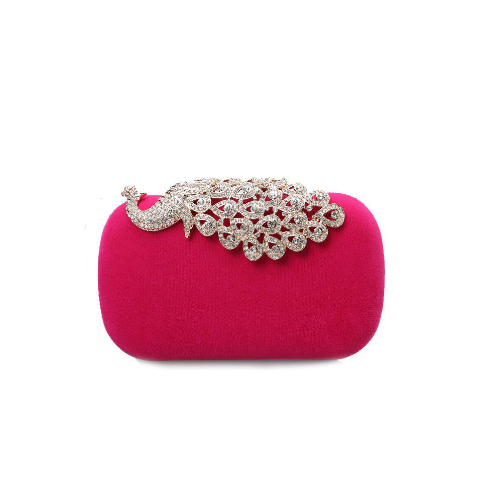 Women Clutch Bags Velvet Evening Bag Buttons Crystal Detailing Wedding Event Party Formal - FUCHSIA