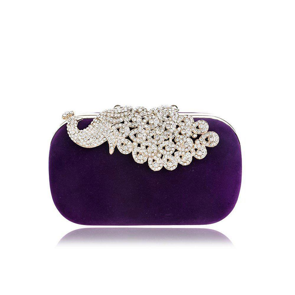 Women Clutch Bags Velvet Evening Bag Buttons Crystal Detailing Wedding Event Party Formal - PURPLE