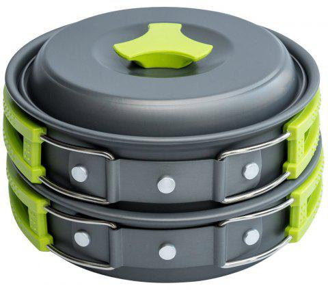 Outdoor Cookware Set Cooking Utensils Lightweight Compact Pot Pan Bowls for Camping Hiking Backpacking Picnic - GREEN