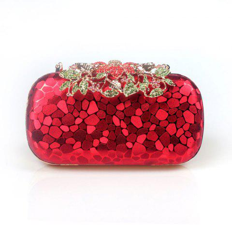 Women PU Evening Bag Crystal Rhinestone Wedding Event Party Formal - RED