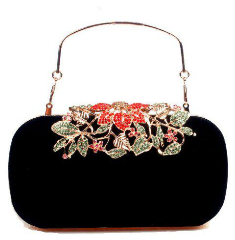 Women Bags Velvet Clutch Crystal Detailing Wedding Event Party - BLACK
