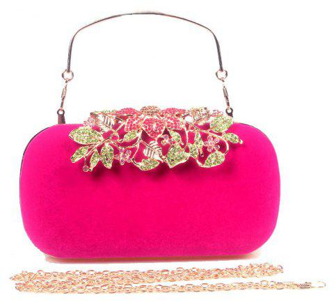 Women Bags Velvet Clutch Crystal Detailing Wedding Event Party - WINE RED